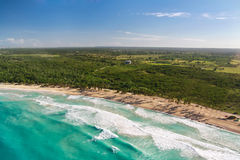 Aerial view of caribbean coastline Stock Photos