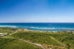 Aerial view of caribbean coastline. Atlantic Ocean from helicopter view, Dominican Republic Stock Photos