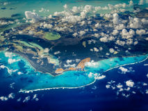 Aerial view of Caribbean islands stock photos