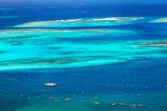 Aerial view of Caribbean sea. Aerial view of turquoise Caribbean sea in St Vincent and Grenadines stock photo