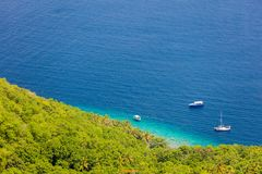 Aerial view of Caribbean sea. Aerial view of turquoise Caribbean sea in St Vincent and Grenadines royalty free stock photo
