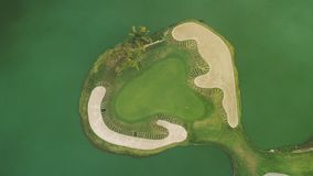 Aerial view of Caribbean tropical golf course Punta Cana resort, Dominican Republic.  stock video