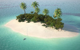 Aerial view of caribbeanl desert stock illustration