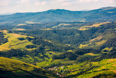 Aerial view on the carpathian village. Beautiful summer weather Royalty Free Stock Photography