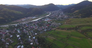 Aerial View Of The Carpathian Village stock video footage