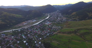 Aerial View Of The Carpathian Village stock video