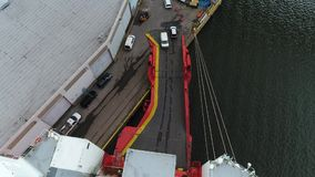 Aerial View of Cars Coming Off a Car Carrier Ship Philadelphia PA.  stock video footage