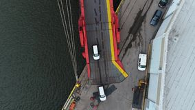 Aerial View of Cars Coming Off a Car Carrier Ship Philadelphia PA.  stock footage