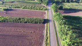 Aerial view. Cars driving on country road stock video footage