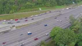 Aerial view cars driving slowly in traffic jam, rush hour. Stock footage stock video