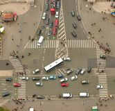 Aerial view of cars and people, busy traffic Stock Photography