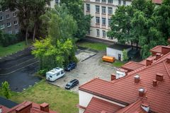 Aerial view of cars and recreational vehicle parking in an urban. Area at Warsaw in Poland stock photography