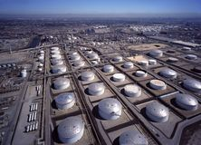 Aerial View Of Carson California Oil Refinery Royalty Free Stock Photography