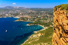 Aerial view on Cassis and Calanque Coast Stock Photography