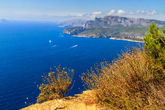 Aerial view on Cassis and Calanque Coast Royalty Free Stock Photo