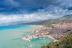 Aerial view of Castellamare del Golfo in Italy Stock Photo
