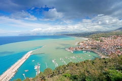Aerial view of Castellamare del Golfo in Sicily Stock Photography