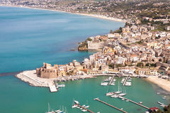 Aerial view on Castellammare del Golfo, Sicily Royalty Free Stock Photography