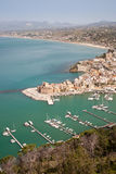 Aerial view on Castellammare del Golfo, Sicily, Italy Royalty Free Stock Photography