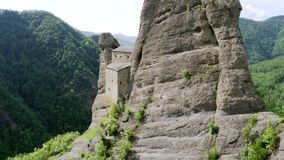 Aerial view of Castello della Pietra in Italy stock footage