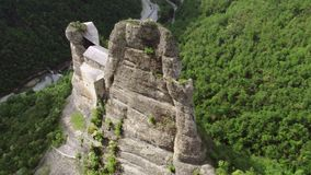 Aerial view of Castello della Pietra in Italy stock video