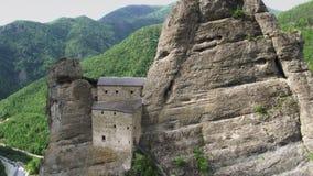 Aerial view of Castello della Pietra in Italy stock video footage