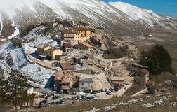 Aerial view of Castelluccio di Norcia destroyed by terrible earthquake of central Italy. Europe Royalty Free Stock Photography