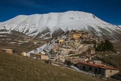 Aerial view of Castelluccio di Norcia village destroyed by strong earthquake. Of central Italy Stock Photography