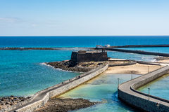 Aerial view of Castillo de San Gabriel - Saint Gabriel Castle in Arrecife and two bridges that lead to it Royalty Free Stock Photos