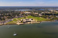 Aerial view of Castillo de San Marcos National Monument in Saint Augustine, Florida stock photos