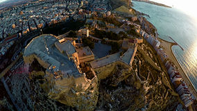 Aerial view of castle Alicante Royalty Free Stock Images