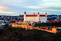Aerial view of castle in the capital of Slovak Republic, Bratislava. Bratislava, Slovakia. Aerial view of the illuminated castle in the capital of Slovak Stock Photo