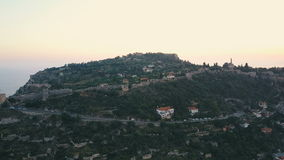 Aerial view of the castle on the hill. Alanya city walls on the hill stock footage