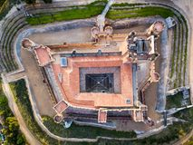Aerial view of the Castle of La Mota in Medina del Campo. Aerial view of the famous castle Castillo de la Mota in Medina del Campo at dusk, Valladolid stock photography