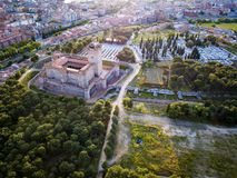 Aerial view of the Castle of La Mota in Medina del Campo. Aerial view of the famous castle Castillo de la Mota and Medina del Campo at dusk, Valladolid royalty free stock images