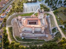 Aerial view of the Castle of La Mota in Medina del Campo. Aerial view of the famous castle Castillo de la Mota and Medina del Campo at dusk, Valladolid royalty free stock photo