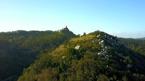 Aerial view of the Castle of the Moors and Pena Palace in Sintra, Portugal stock footage