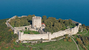 Aerial view of the castle of Platamon, Pieria, Greece Royalty Free Stock Photo