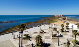 Aerial view of the Castle of San Sebastian. An aerial view of Walk of Quiñones brings us to the Castle of San Sebastian in the city of Cadiz, a day of low tide Royalty Free Stock Images