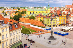 Aerial view of Castle Square in Warsaw, Poland. Royalty Free Stock Photos