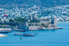 Aerial view of Castle of St. Peter,Bodrum Castle,and Marine in Bodrum stock photography