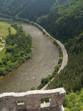 Aerial view from The Castle of Strecno royalty free stock photography