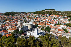 Aerial View on Castles and Houses of Sibenik Stock Photography