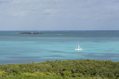 Aerial view of catamaran in caribbean Royalty Free Stock Images