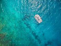 Aerial view of catamaran sailling in ocean. Open water Stock Photography
