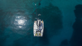 Aerial view of Catamaran in the sea Royalty Free Stock Photos