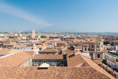 Aerial view of Catania with volcano Etna in background Stock Image