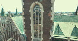 Aerial view of cathedral. Ancient church stock video footage