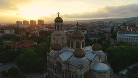 Aerial view of The Cathedral of the Assumption in Varna, Bulgaria.  stock footage