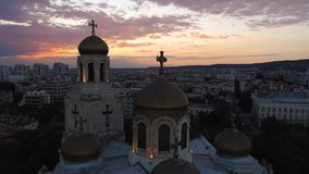Aerial view of The Cathedral of the Assumption in Varna, Bulgaria. Colorful Sunset. stock video